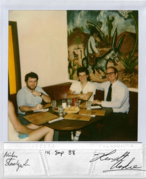 Mike Stackpole, an unnamed geek and Ken St. Andre at an Arizona restaurant.